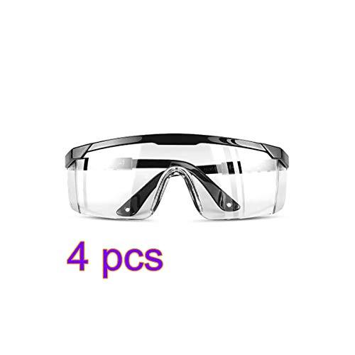 Konesky veiligheidsbril beschermende bril kristalheldere stofdichte bril voor laboratorium chemische veiligheid op de werkplek anti fog 4 pack Zwart