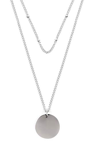 Happiness Boutique Damen Zweireihige Kette mit Kreis Anhängern in Silberfarbe | Mehrreihige Kette Runde Plättchen