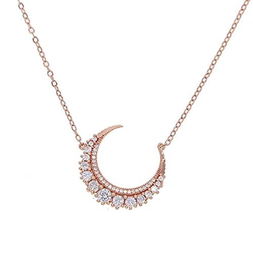 QiuYueShangMao Collar con Colgante de Cuerno de Luna Creciente cúbica, Collar de Mujer, Collar de Amistad Regalo de cumpleaños