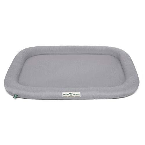 Hound & Nature Hundekissen Arosa - weiches Liegekissen für größere Hunde - Öko-Hundebett waschbar, hygienisch, robust & nachhaltig (L - 115x75 cm - Hellgrau)