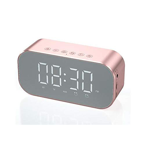 LJYFST Digitale wekker, bluetooth-luidspreker met thermometer, led-display, dimbaar, dubbele wekker met sluimerfunctie, AUX-TF-kaart, USB-oplaadpoort, FM-radio, stereo-luidspreker, 4.2 Bluetooth