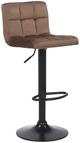 CLP Barhocker Feni Samt | Höhenverstellbarer Thekenhocker Mit Fußstütze Und Lehne | Barstuhl Mit Metallgestell, Farbe:braun