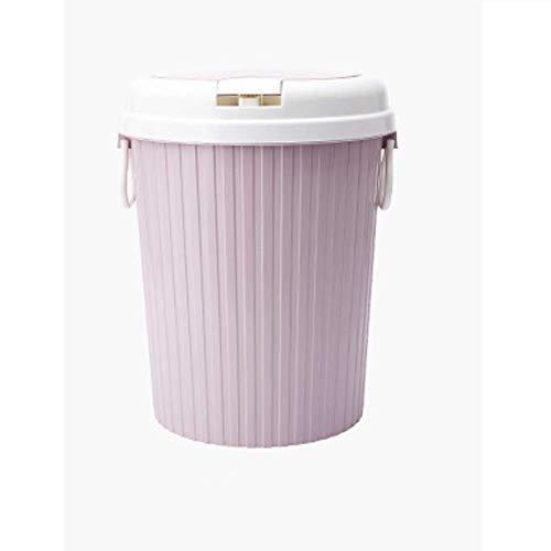 AINIYF Trash Can, Push-Typ Trash Can, Wohnzimmer Kunststoff Abfalleimer Badezimmer mit Abdeckung Papierkorb Rosa, Trash Can