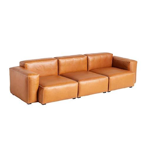 HAY Mags Soft 3-Sitzer Sofa Armlehne niedrig Leder, Cognac Naht hellgrau Leder Silk SIL0250 Füße Kiefernholz schwarz gebeizt mit Filzgleitern