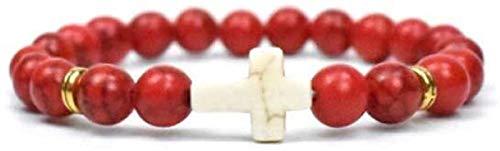 RTUTUR Pulsera de Piedra Mujer, 7 Chakra Piedra Natural Bangle Red Brazalete Turquesa Pulsera Elástica Yoga Cruz Lucky Moda Joyería para Damas
