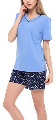 Merry Style Pijama Conjunto Camiseta y Pantalones Ropa de Cama Mujer MS10-231 (Azul/Estrellas, XL)