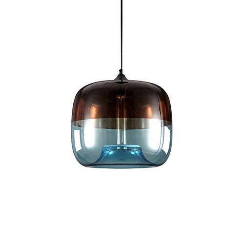 easygame-unique ottica vetro soffiato a mano moderno lampadario a sospensione, soffitto appeso apparecchi di illuminazione, azzurro, verde 25cm (grigio chiaro), Light Grey Blue, 28