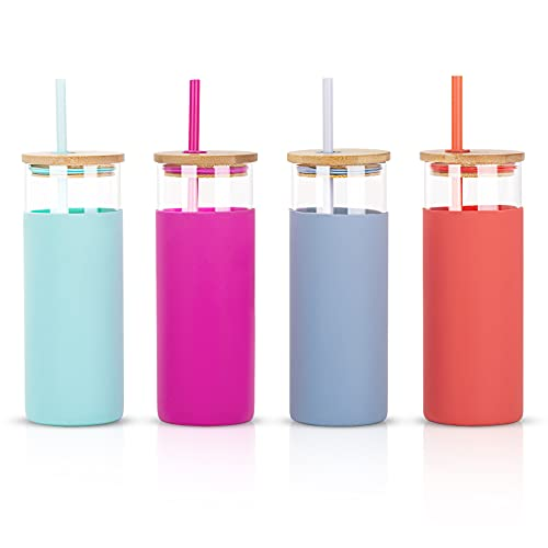 CREATIVELAND 15oz Glass Tumblers Water Bottle with Bamboo Lids and Straw Silicone Protective Sleeve Eco Friendly & BPA Free,Set of 4.