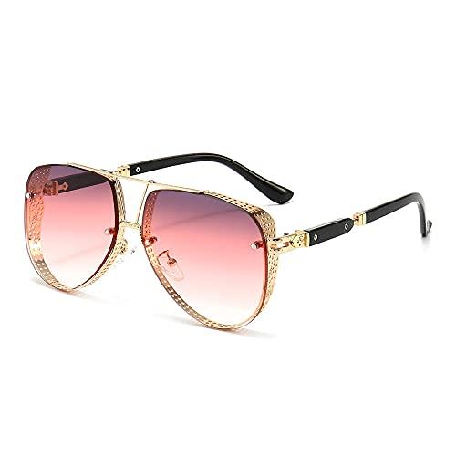 XDOUBAO Gafas de sol Gafas de sol de moda Gafas de sol Marinas Tendencia de recubrimiento de color de estilo europeo Gafas de sol de temperamento-Color foto_Tabletas de grano de marco de oro