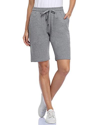 MOVE BEYOND Bermudas de Mujer con 3 Bolsillos con Cordón Ajustable Pantalones Cortos para Yoga Correr Ejercicio Salón, Gris, XS