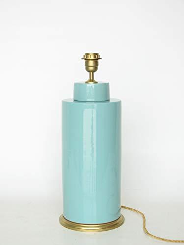 POLONIO Lámpara Sobremesa Mediana de Salon - 32 cm - Pie de Lámpara de Ceramica - Color Verde Aguas