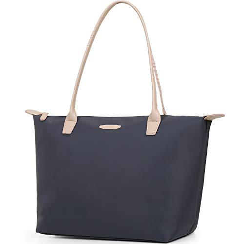 ECOSUSI Nylon Shopper Groß Tasche Schultertasche Arbeit Handtasche Tote Tasche Grau