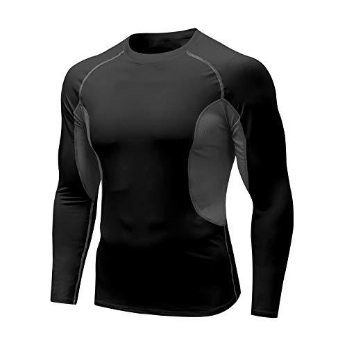 MEETYOO Camiseta Compresion Hombre, T-Shirt Manga Larga Ropa Deportiva Base Layers Camisetas para Running Gym Fitness