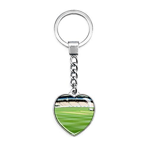 Hqiyaols Keychain Australien Melbourne Cricket Ground Schlüsselkette Kreative Doppelseitige Herz-Kristall-Schlüsselkette Tourist Souvenir Metal