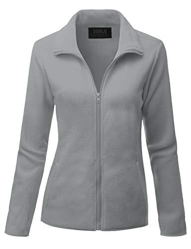 Doublju Womens Full Zip Fleece Jacket With Pockets Plus Size Available GRAY MEDIUM
