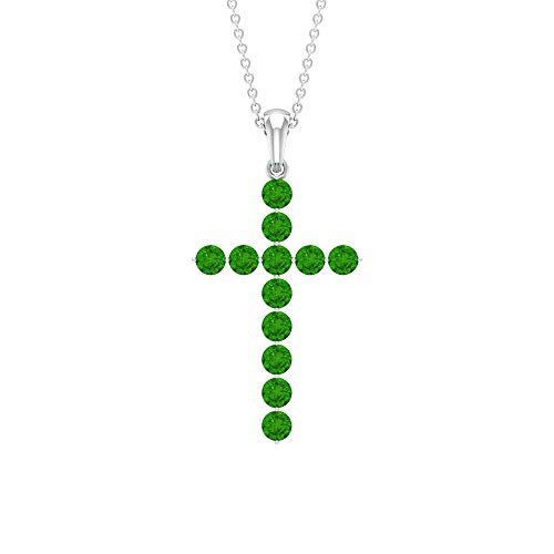 Rosec Jewels 18 quilates oro blanco redonda Green Creado en laboratorio de tsavorita