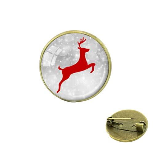 Navidad reno nieve blanco broches alfileres joyería para hombres y mujeres regalo para bebé medalla de cúpula de cabujón de cristal