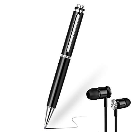 Penna Registratore Vocale, 32GB EPILUM per Conferenze, Mini Spia Registratore Vocale ad Attivazione Vocale HD, Registrazione Portatile con Riproduzione MP3 con Cuffie, USB Ricaricabile