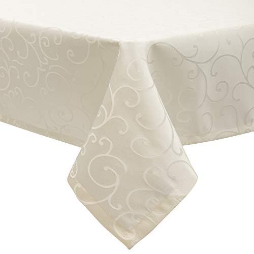 EUGAD Tischdecke Damast Ornamente Seidenglanz Kringel/Circle Design Tafeldecke mit Saum, Tischtuch Größe & Farbe wählbar, Edel Tisch Decke Abwaschbar und Bügelfrei, Eckig 130x220 cm Creme