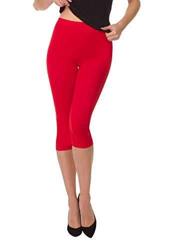 BeComfy Damen Leggings 3/4 Capri aus Baumwolle Viele Größen&Farben Blickdichte Leggins Rot Schwarz Graphit Grau Weiß Blau Rosa Beige...