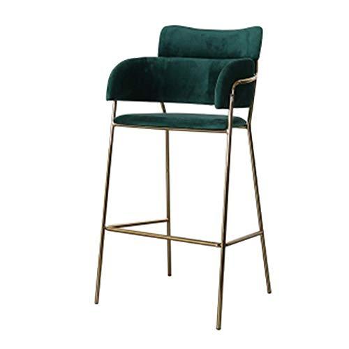 Barkruk barstoel modern Simplicity eetkamerstoel Nordic velvet hoge kruk met gouden metalen poten verschillende kleuren naar keuze groen