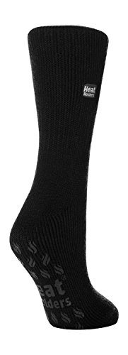 HEAT HOLDERS - Mujer gruesos invierno antideslizantes calcetines para casa (37-42 Eur, Black)