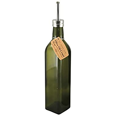 Grant Howard 50976 Pro Series Olive Oil Glass Cruet, Green, 16 oz, Green and Silver
