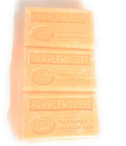 Lot de 3 Savons à l'huile d'olive BIO - senteur Pamplemouse - couleur orange - 100 gr
