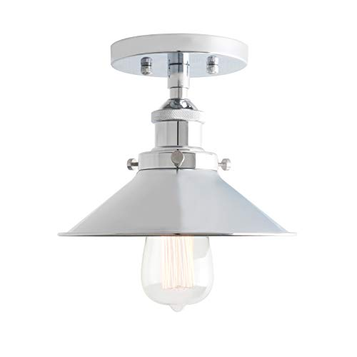 Phansthy 1 Flaming mit Metall-Schirm Pendelleuchte Hängeleuchte Vintage Hängelampen Hängeleuchte Pendelleuchten Loft-Pendelleuchte im Landstil (Chrome Farbe)