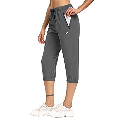 Amazon - Save 50%: Womens Lightweight Joggers Capri Pants UPF 50+ Hiking Pants Sun Pro…