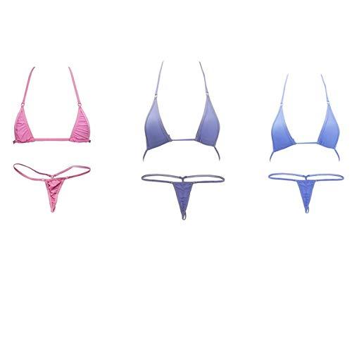 Hnjzx Micro-Bikini, ungefüttert, G-String, durchsichtig, sexy winzige String-Bikini-Sets, zweiteilig, Bade- und Strandmode für Damen Gr. S/XL, (3 Stück)b