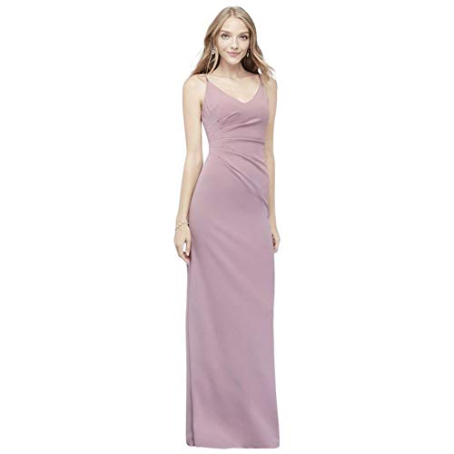 David's Bridal Scoopback Stretch Crepe Sheath Bridesmaid Dress with Ruching Style AP2E205053, Dusty Rose, 6