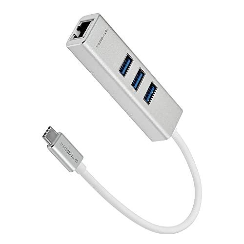 Adaptador de concentrador USB C a Ethernet Divisor de Transferencia de Datos, concentrador de Aluminio de Alta Velocidad Tipo c con Puerto LAN de Red