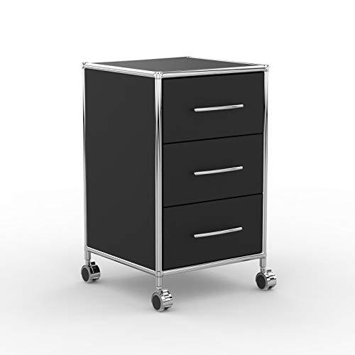 system8x Versee Profi Rollcontainer Design 40cm - Holz Dekor - schwarz - Rollen für Harte Böden - 3 Schubladen leise schließend + selbsteinzug, Bürocontainer, Rollschrank, Büroschrank, Metall Chrom