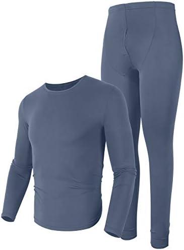 poriff Moisture Wicking Thermal Underwear Mens Long Underwear Warm Pajamas Set Dark Grey XL product image