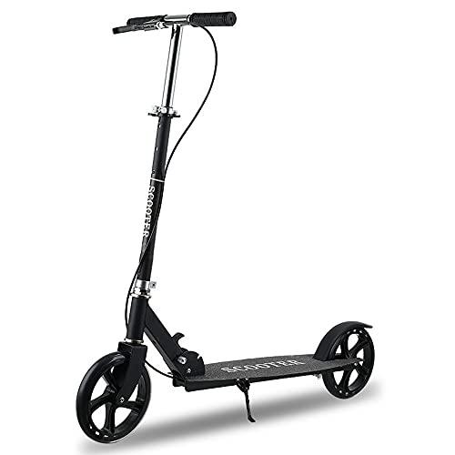 Scooter plegable con frenos delanteros y traseros Scooter T-bar ajustable pie mini scooter adecuado para personas mayores de 6 años (negro)