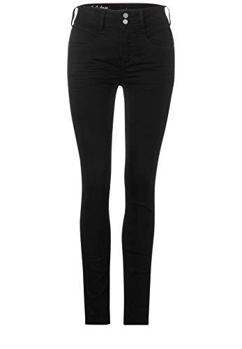 Street One Damen 373543 Style York Slim Fit Jeans, Black Soft Washed, W28/L30