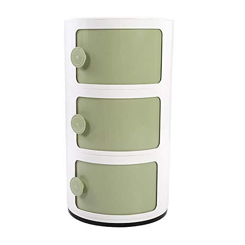 EBTOOLS 3 Schichten Container Componibili Schubladenschrank Rollcontainer Nachttisch Endtische Badezimmerschrank Aufbewahrungsschrank mit Slippng Tür, 63 x 32 cm(Grün)