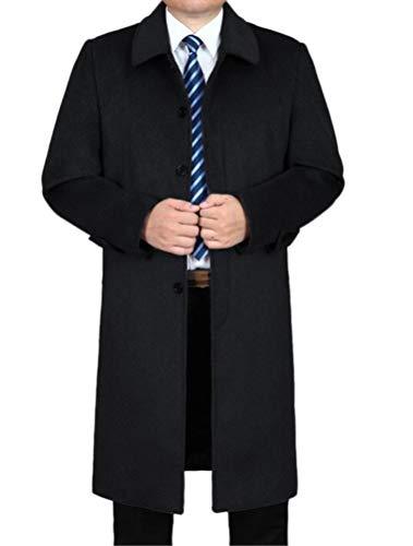 Mordenmiss Men's Wool Single Breasted Winter Trench Jacket Woolen Pea Coat Style 1 Black 2XL