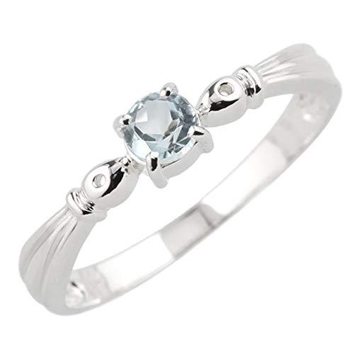 [リュイール] アクアマリン 3月 誕生石 レディース リング プラチナ Pt900 一粒 指輪 結婚 6号