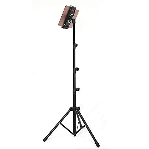 IJNBHU Soporte para TV, Soportes de Pared de Acero Resistente, Altura Ajustable 85-140cm / 33-55in, Soporte para Tableta de trípode Negro para Tableta de teléfono de 4.7'-10'