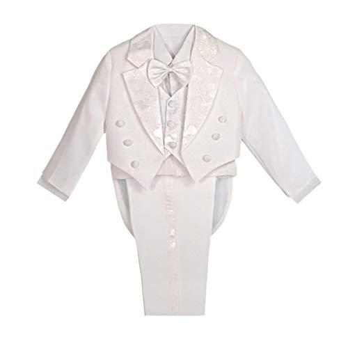 Lito Angels Baby Jungen 5 Stück set Formale Tuxedo Anzug mit schwanz Page Boy Taufe Taufanzug Gr. 9-12 Monate Weiß