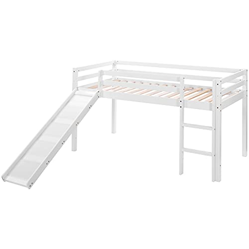 DreamMespace Marco de cama infantil con escalera deslizante, litera para niños con escalera ajustable y tobogán (blanco, 190 x 90 cm)