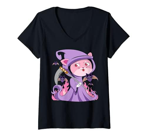 Mujer Kawaii - Gato de bruja gtico pastel con lindo disfraz de segador espeluznante Camiseta Cuello V