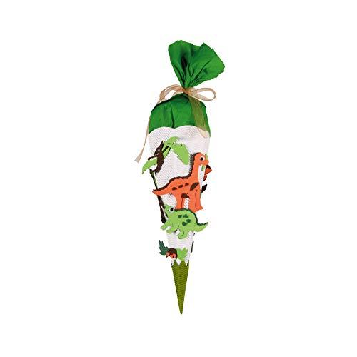ROTH Schultüten-Bastelset mit Moosgummiteilen Dino 40 cm klein - Geschwistertüte - 6-eckig Kreppverschluss grün - Zuckertüte Dinosaurier