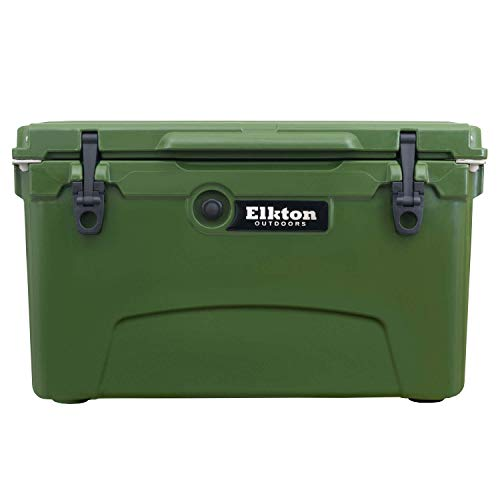 Elkton Outdoors Ice Chest. Heavy Duty, High Performance Roto-Molded Commercial Grade Insulated Cooler, 45-Quart, Green