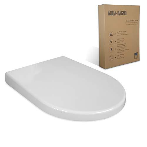 Aqua Bagno WC asiento ZERO blanco D-FORM universal - plástico termoendurecible de alta calidad con cierre blando - extraíble - fácil de limpiar - tapa de soporte/tapa del inodoro