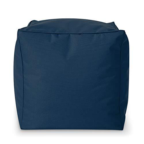 Green Bean Outdoor © Square Dice Sitzsack-Hocker - 40x40x40 cm - Indoor & Outdoor - schmutzabweisend, waschbar - Fußablage, Fußkissen, Sitzpouf - für Kinder & Erwachsene - Dunkelblau