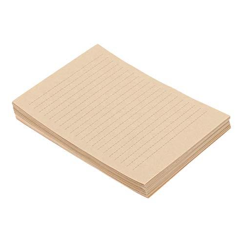Cabilock 100 Blatt Vintage Briefpapier A5 blanko Briefpapier braun liniert Briefpapier für Zuhause Schule Büro (21 x 15 cm)