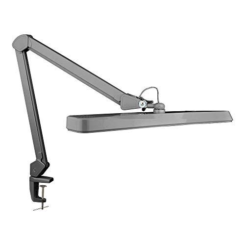 (2021 Modell) Neatfi XL 2.500 Lumen LED-Tischlampe mit Klemme, Europäischem Stecker, 30W Superhelle Schreibtischlampe,162 Stück SMD-LED, 22 Zoll breite Lampe,Tischklemme LED-Leuchte (Silber)